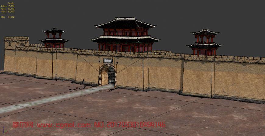 古代城楼场景模型