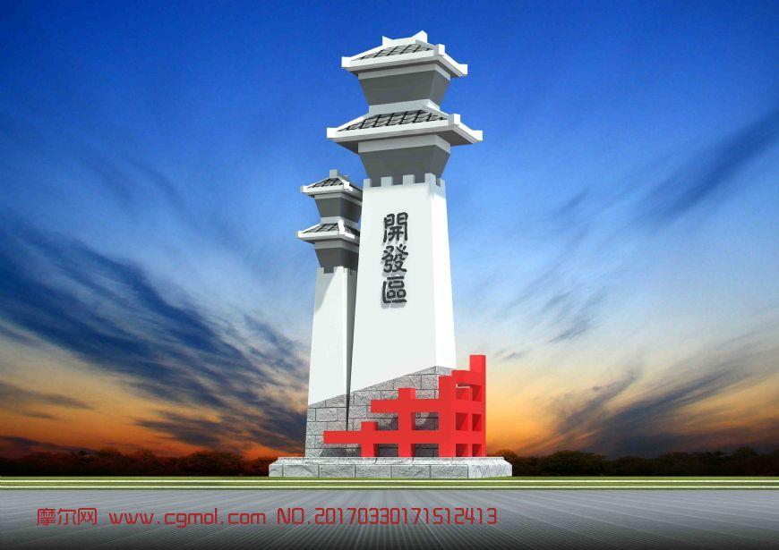 现代汉阙设计地标建筑雕塑max模型