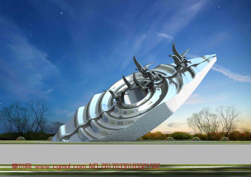 海边城市水纹海鸥雕塑设计max模型