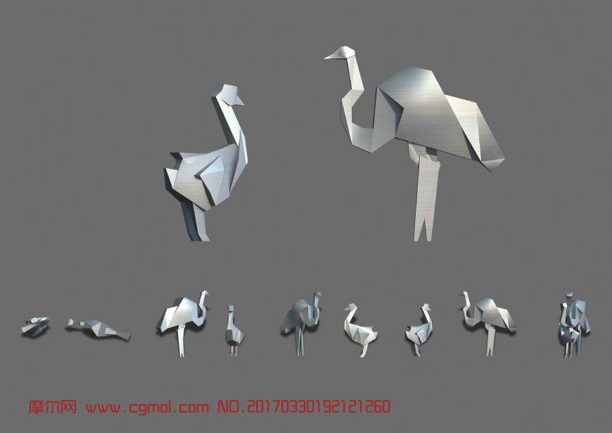 鸵鸟,简单雕塑