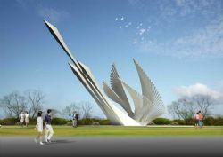 冲天飞鹤形象雕塑设计max模型,无贴图