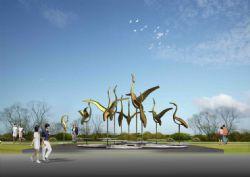 群鹤戏水雕塑设计max模型,无贴图