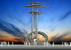 名扬四海学校励志雕塑设计max模型