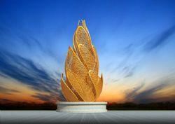 花苞形状的网格叶子雕塑设计