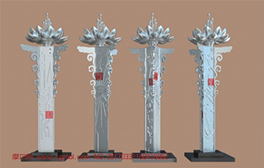 复古莲花雕塑设计max模型