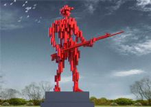 捍卫主权的士兵雕塑