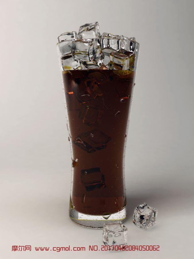 冰镇可乐,冰块,玻璃杯max2017模型
