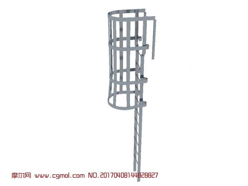 室外爬梯钢梯带安全护栏max模型