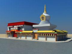 西藏白塔和拉康