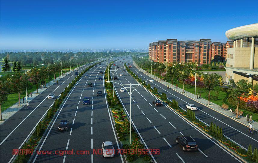 绕城公路场景,两款max模型,带和不带中间绿化带(网盘下载)