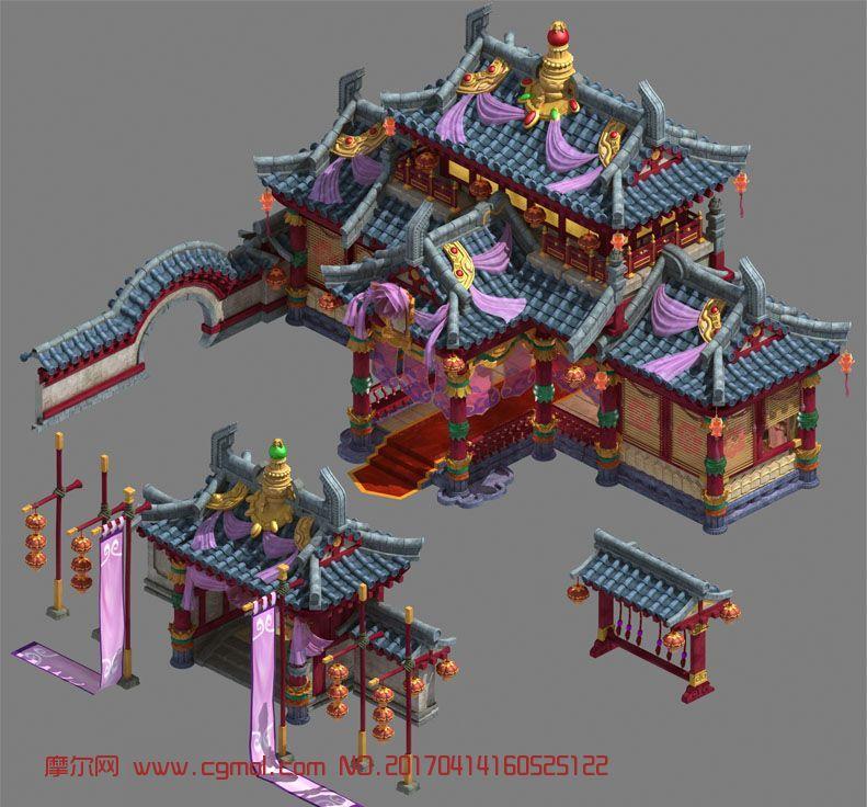 古代妓院门头+主体建筑设计,中式奢华风,贴图齐全