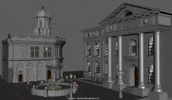 欧式别墅庭院广场,带喷泉maya模型