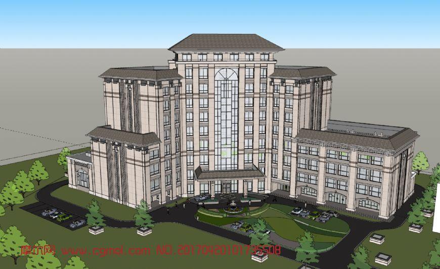 高层酒店skp模型