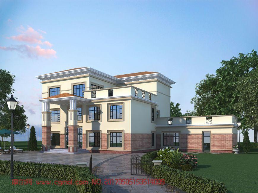 欧式三层别墅max模型