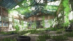 一个荒废的厂房内部杂草丛生maya场景,无贴图