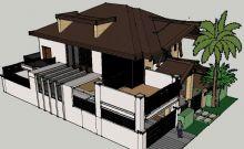 双层小别墅,栏杆阁楼房间带细节