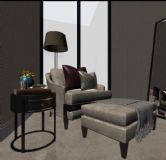 现代单人沙发,小书桌