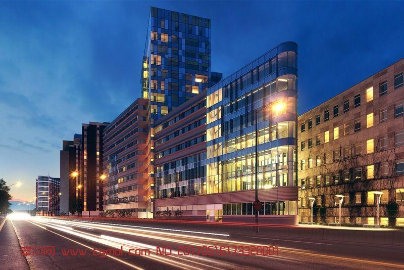 CBD商业区街道的夜景效果(网盘下载)