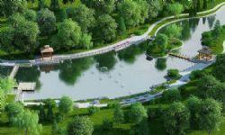 公園小河旁走道+河心小島涼亭max模型