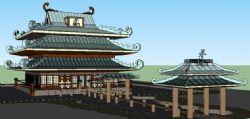 水梢门,中式餐馆skp模型