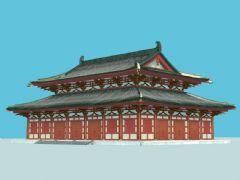 唐代建筑配殿,带贴图,木结构模型精美,带FBX文件