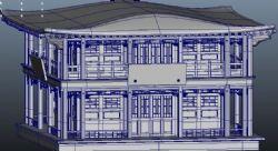 一个双层的寺庙maya模型