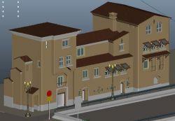�W式街道旁房屋建筑maya模型