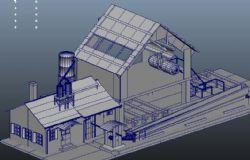 一个小型工厂maya模型
