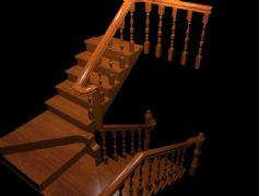跃层U型实木楼梯