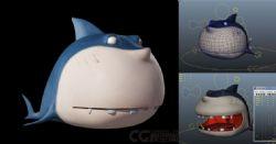 卡通鲨鱼,Q版鲨鱼,带贴图,有绑定表情
