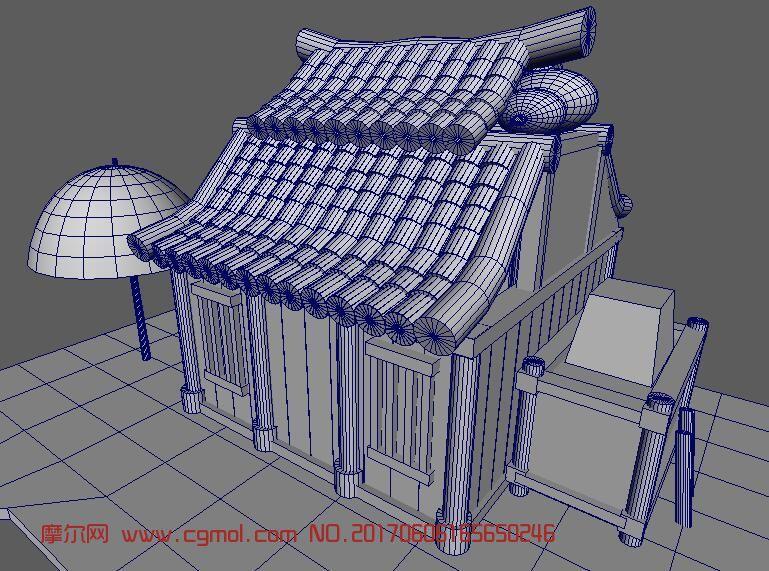 一所卡通风格的古代房子