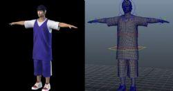 周杰伦CBA篮球装扮, 角色写实模型,有材质绑定