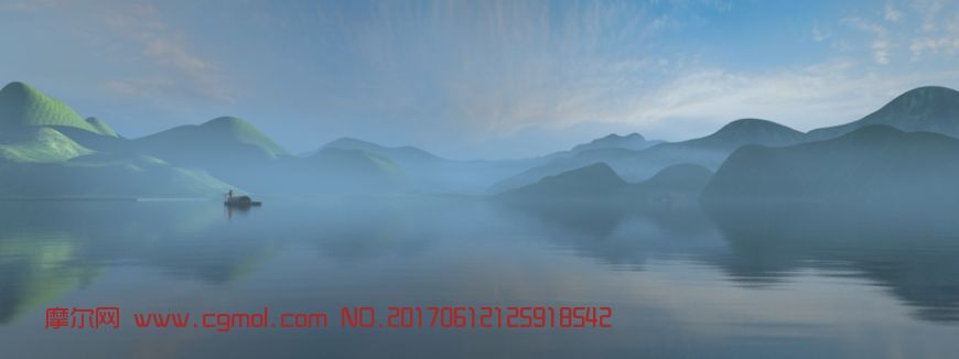 山水渔夫青龙湾,薄雾清晨场景