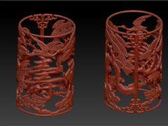 松鹤寿字圆柱雕刻