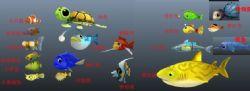 19条鱼,卡通鱼,捕鱼游戏中用到的鱼,提供fbx动画格式文件