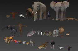 非常全面的动物园常见的动物简模,无贴图
