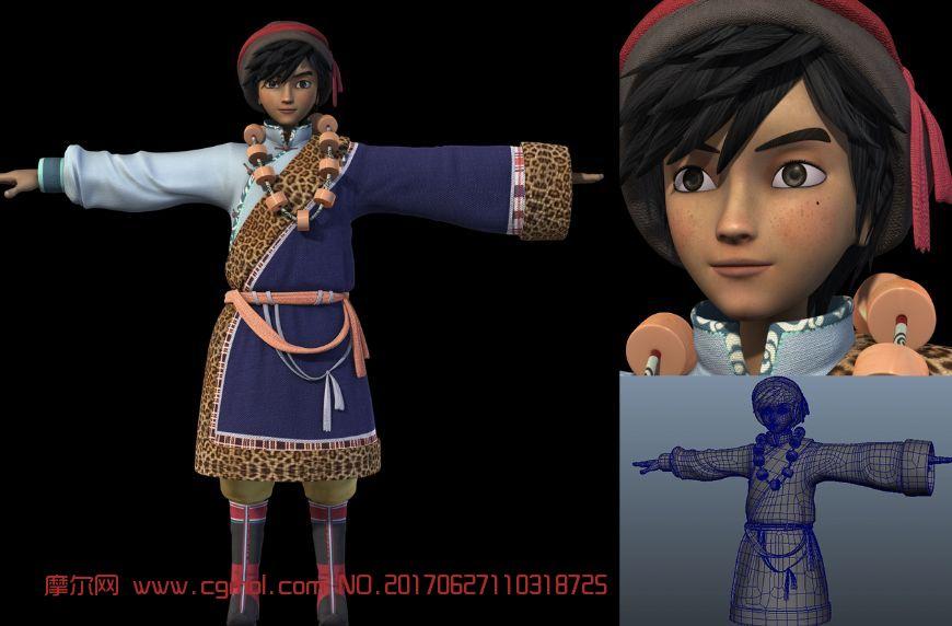 藏族少年,男孩,影视模型,贴图精细高清大图