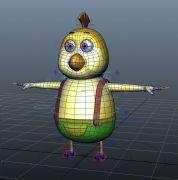 Q版卡通小鸡,有贴图,带绑定