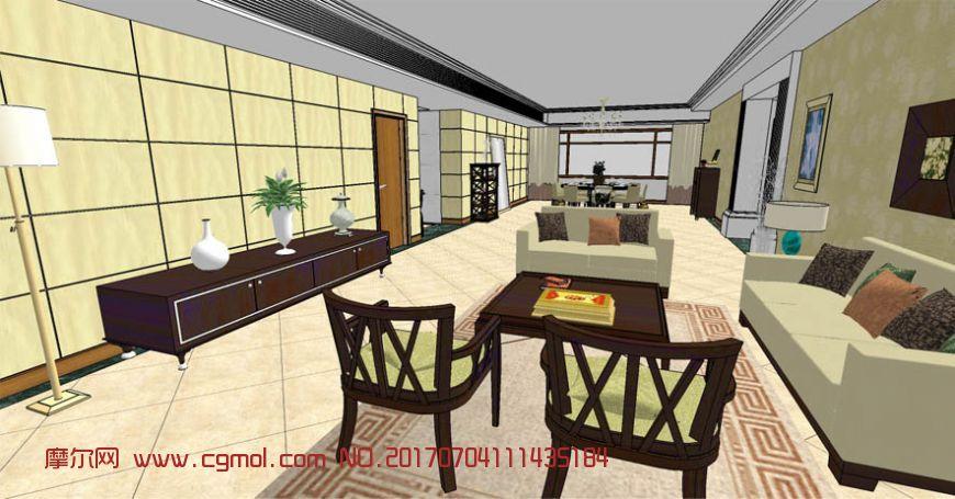 室内客餐厅整体设计su模型