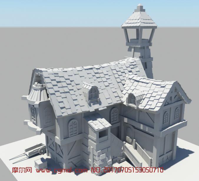 建筑大师别墅_一个国外小房子,民房maya模型,国外建筑,建筑模型,3d模型下载,3D ...
