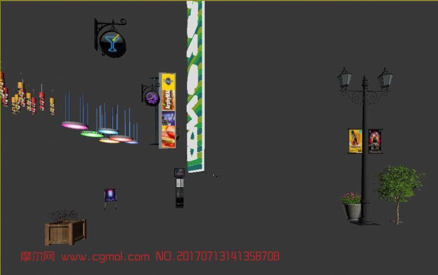 商业灯,灯箱,灌木