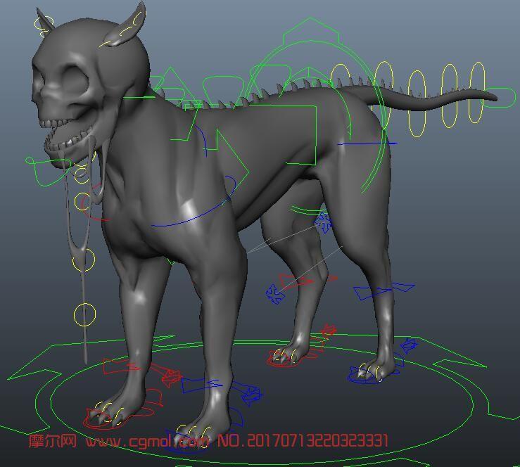 maya骷髅狗角色带绑定
