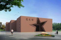 红砖拼花,博物馆五星大门,单体墙面建筑