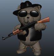 握一把AK47的泰迪熊maya模型