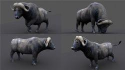 水牛,带骨骼动画,有贴图