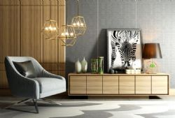 现代电视柜单椅吊灯组合