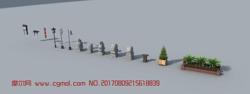 石雕,路灯等中式小品