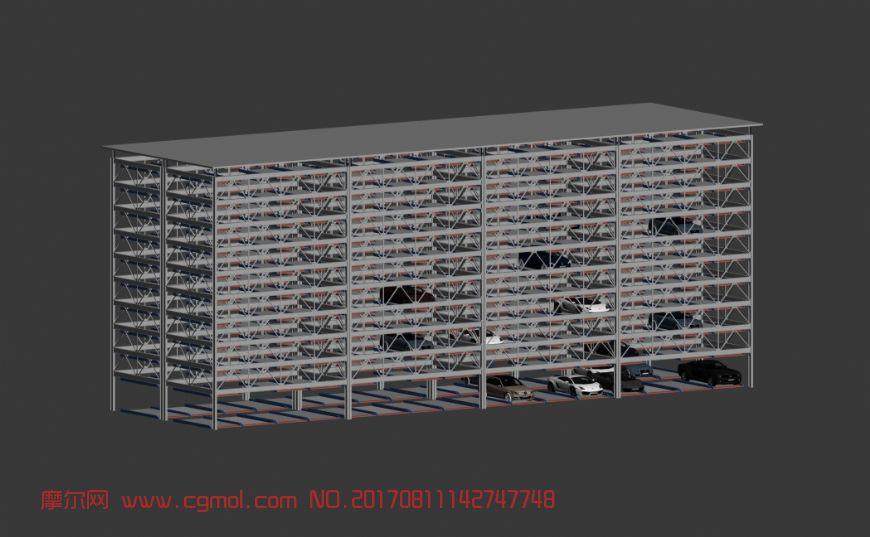机械升降立体车库,多层车库3D模型