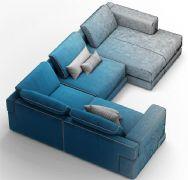 古典奢华蓝灰色调沙发