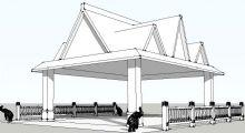 泰式凉亭+栏杆+小象